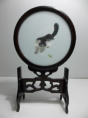 VTG Chinese Silk Stitched Embroidered CAT Painting ROSEWOOD Stand GRASSHOPPER
