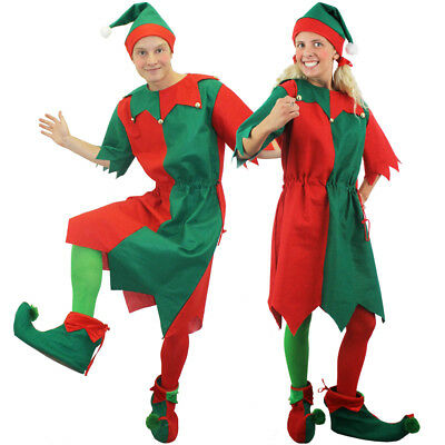 Couples Elf Costumes Christmas Fancy Dress Mens Womens Adult His And Hers