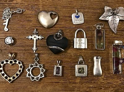 Job Lot Of 15 Women's Collar, Chain Pendants Including 925 Sterling Silver