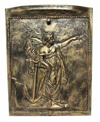 Vintage Cast Iron Victorian Figural Goddess Fireplace Cover Anchor Woman