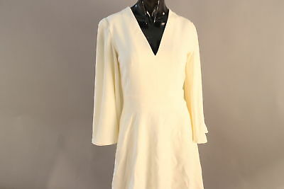 NWT $1895 Alexander McQueen Size 40 Creme Viscose Blend Sleeveless Cape Dress