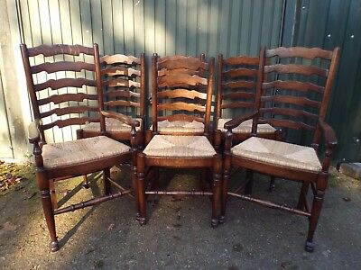 Set of Six (4+2) Solid Oak Antique Style Dining Chairs  ref4657