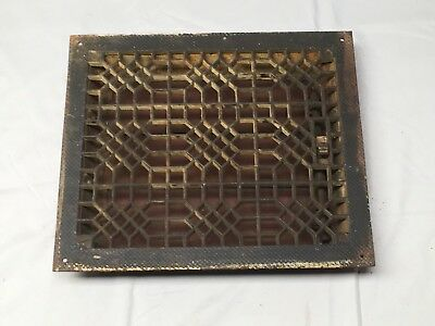 Antique Cast Iron Heat Grate Floor Vent Register Vtg Honeycomb Old 10x12 15-17B