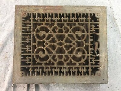 Antique Cast Iron Heat Grate Floor Vent Register Vtg Victorian Old 8x10 16-17B