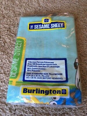 Vintage Sesame Street Burlington Domestics Pillow Case NEW still in Package