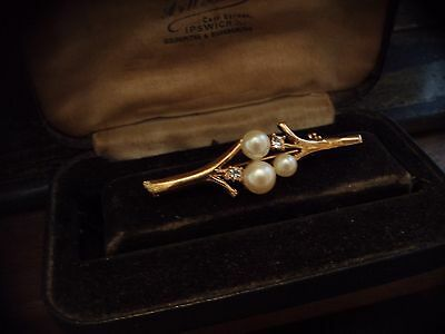 Vintage Jewellery Crystal & Pearl Bar Brooch Gold Plated.