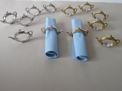 Set of 6  Thick Silver  or Gold Metal Tea Pot Napkin Holders / Rings