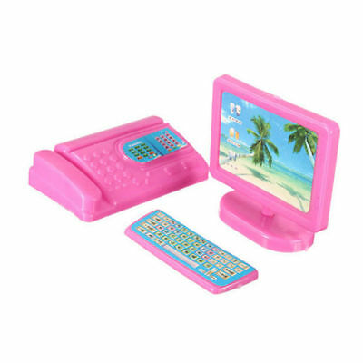 Dollhouse Miniature Modern Computer Kit Furniture Pink for Barbie Size Doll Gift