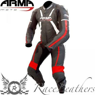 Armr Harada R Leather One Piece Motorcycle Motorbike Race Suit Black Red