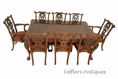 """Chippendale Style Banded Mahogany Dining Room Table By Henredon 76"""""""