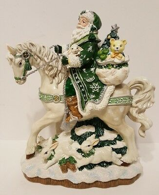 Fitz And Floyd Christmas Winter Garden Santa On Horse Figurine 2009 Rare NEW