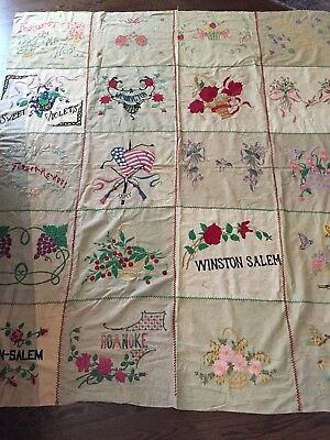 Antique Ww1 Wwii Era Hand Embroidered Bedspread / Sheet Army Flag Winston Salem