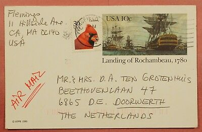1984 Uprated Postal Card Springfield Ma Airmail To Netherlands