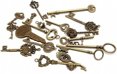18pcs Antique Vintage Old Look Skeleton Key Lot Pendant Heart Bow Lock US SELL