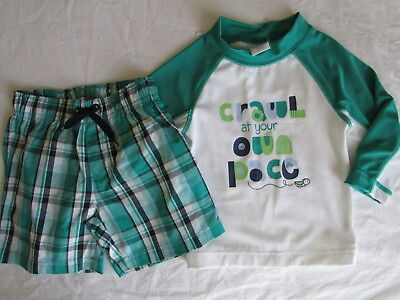 NWT Gymboree Boy LAKESIDE STROLL 2pc Rash Guard and Plaid Swimsuit  18-24 Months