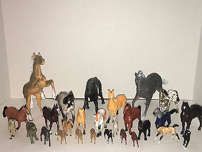 Mixed Lot of 26 Horses Various Sizes Andalusian Schleich, Safari, Breyer, Minis+