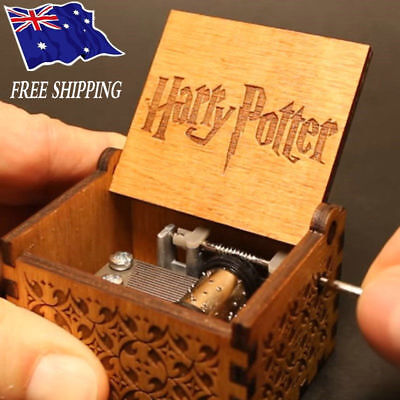Creative Harry Potter Engraved Wooden Music Box Interesting Toys Kid Xmas Gifts