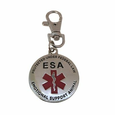 """NEW ESA Emotional Support Animal Dog Pet ID Tag 1.25"""" DOUBLE SIDED Service PTSD"""