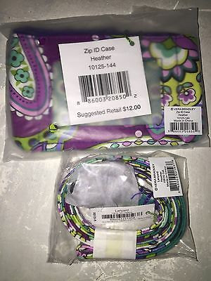VERA BRADLEY Zip Id Case and Lanyard HEATHER  Retired  Great Gift! NWT