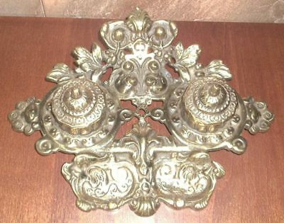 Antique Vintage Japan Solid Brass Double Ink Well Stand! Ornate and Heavy