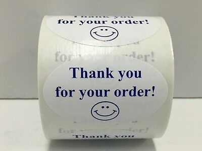 500 Labels 1-1/4x2 Oval BL/WH THANK YOU FOR YOUR ORDER Mailing Retail Stickers
