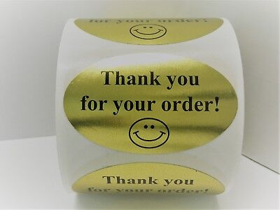 500 Labels 1-1/4x2 Oval BLK/GLD THANK YOU FOR YOUR ORDER Mailing Retail Stickers