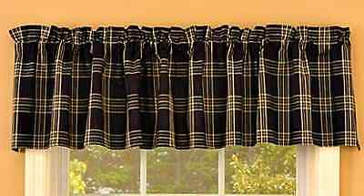 New Country Primitive Rustic Black & Tan Plaid Homespun Window Valance Curtains