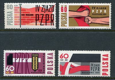 Poland Scott 1240-43 1243 Polish United Workers Industry Full Set 1964 NH