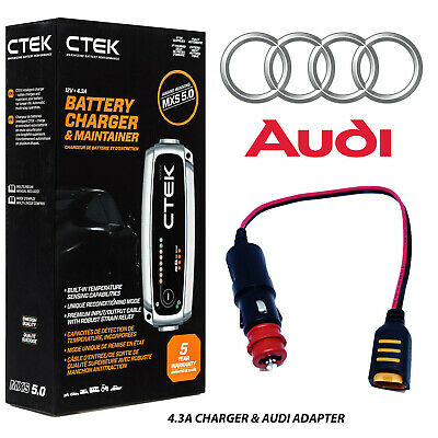 Audi 4.3A Battery Charger Tender Conditioner & Custom Adapter