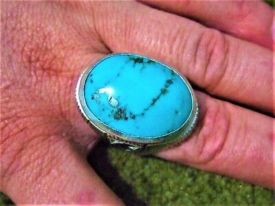 Museum quality natural old Islamic Persian turquoise silver men ring 20-gm,us:14