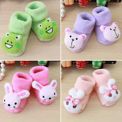 Love Cute Newborn Baby Kid Toddler 3D Cartoon Plush Socks Infants Anti Slip Sock