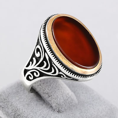 Turkish Handmade Men's Ring Red Agate Stone 925 Sterling Silver Eastern Motifs