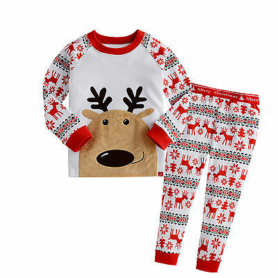 XMAS Baby Boys Girls Rudolph Reindeer Nightwear Sleepwear Pajamas Set UK Stock
