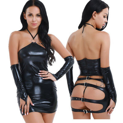 Damen Sexy Bandage Kleider Kunstleder Wet Look Bodycon Ballkleid Party Clubwear