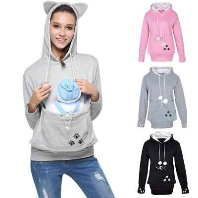 Women Dog Cat Hoodies With Cuddle Pouch Casual Kangaroo Pullovers Sweatshirt UK