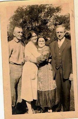 Old Vintage Antique Photograph Couples Women Hugging Great Outfits