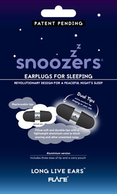 Snoozers Anodised Aluminium Ear Plugs or 6or12 pack Ear Foams from Flare Isolate