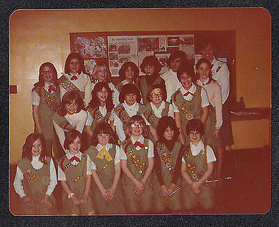 Vintage Photograph Large Group of Adorable Girl Scouts in Uniforms