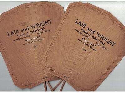 Set of 2 - Vintage Cardboard Advertising Fan - LAIB and WRIGHT Funeral Directors