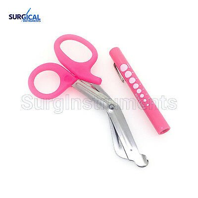 "Pink - Set of 2 Pink EMT First Responder 7.5"" Shears + Pink Pen Light"