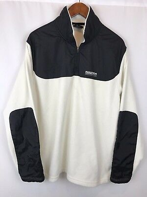 Vintage Nautica Competition White Half Zip Fleece Mens Size Large Pullover