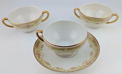 Lot of 3 Bawo & Dotter Elite Works Limoges Pink Roses tea cups and saucer BWD379