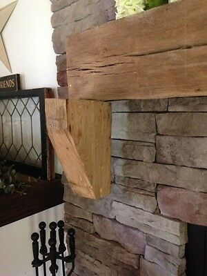 Rustic rough Corbels Mantel wood reclaimed lumber mantle Fireplace hardwood oak