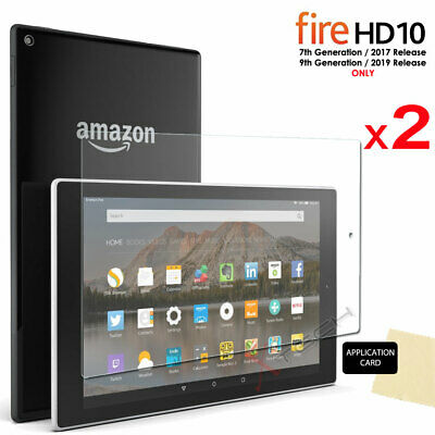 2x CLEAR Screen Protector Covers for Amazon Fire HD 10 2017 Alexa 7th Gen