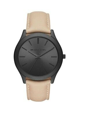 37428682c007 Michael Kors MK8510 Slim Runway Black Face Beige Sand Leather Band 44MM NEW  NWT