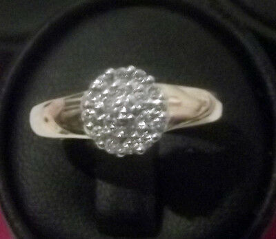 BEAUTIFUL VINTAGE DIAMOND CLUSTER RING 18ct yellow gold size uk M