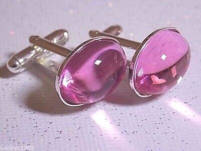 Handmade Pink Lucite Oval Cufflinks Silver Plated Setting, Gift Boxed!