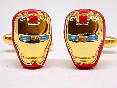 Marvel Iron Man Helmet Cufflinks Red & Gold Rhodium Plated, Gift Boxed!