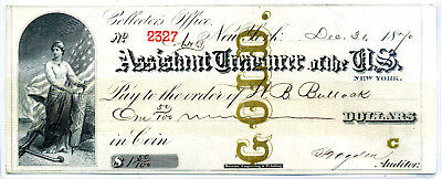 Assistant Treasurer Of  United States Treasury Gold Note  $1.50 New York 1870