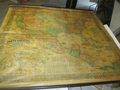 antique 1857 jacob monk's new american map north america map